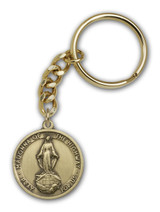 Antique Gold Our Lady of the Highway Keychain
