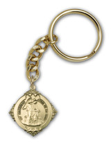 Antique Gold Guardian Angel Keychain - Style 1