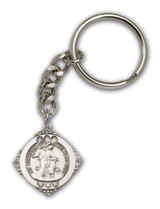 Antique Silver Guardian Angel Keychain - Style 2