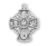Holy Spirit 4 Way Pendant, Sterling Silver with Chain - S145018
