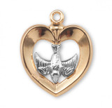 Holy Spirit in Heart with Inlay Pendant Two Tone, 16 Karat Gold Over Sterling Silver with Chain - GS3721TT18