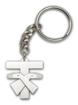 Antique Silver Franciscan Cross Keychain