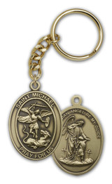 Antique Gold St. Michael the Archangel Keychain