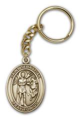 Antique Gold St. Sebastian Keychain