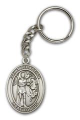 Antique Silver St. Sebastian Keychain