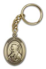 Antique Gold St. Brigid of Ireland Keychain