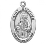 St. Stephen Pendant Oval Sterling Silver with Chain - S934920
