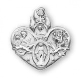 Sacred Heart of Jesus 4 Way Pendant, Sterling Silver with Chain - S144018