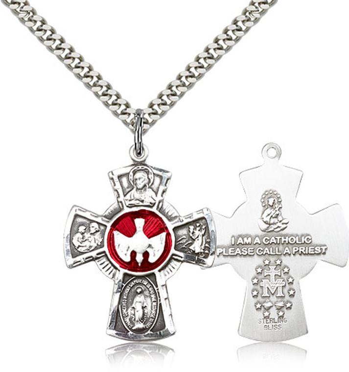 5 Way Cross Pendant, Sterling Silver - 0045ESS/24S
