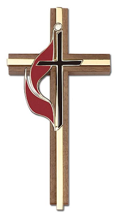 6 inch Methodist Cross, Walnut with Antique Silver inlay