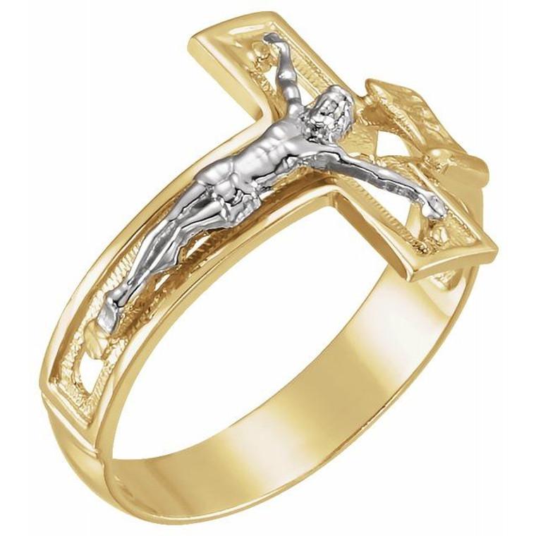 Two Tone Men's Crucifix Ring