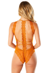 HORIZON Geometric lace soft bodysuit with crossing body panels and back lace detail