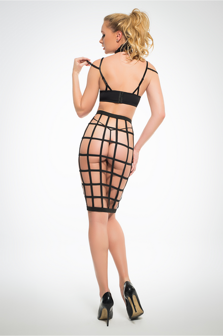LEIA - LUSCIOUS CAGE SKIRT WITH PROVACATIVE LACE BRA