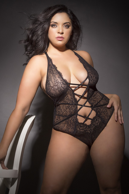 EVELYN	Soft lace teddy with fixed front lace up detail and cheeky back