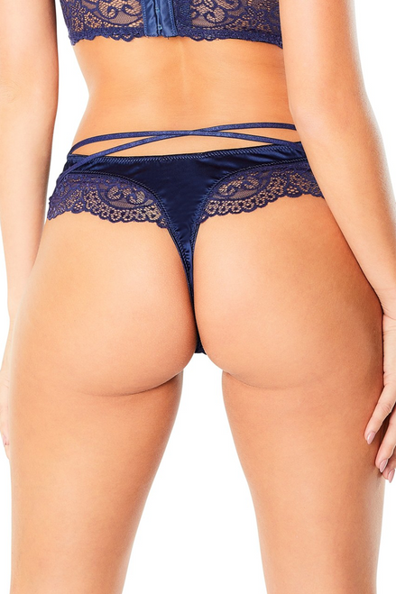 ALINA HIGH LEG LINED THONG WITH CROSSING BACK STRAPS