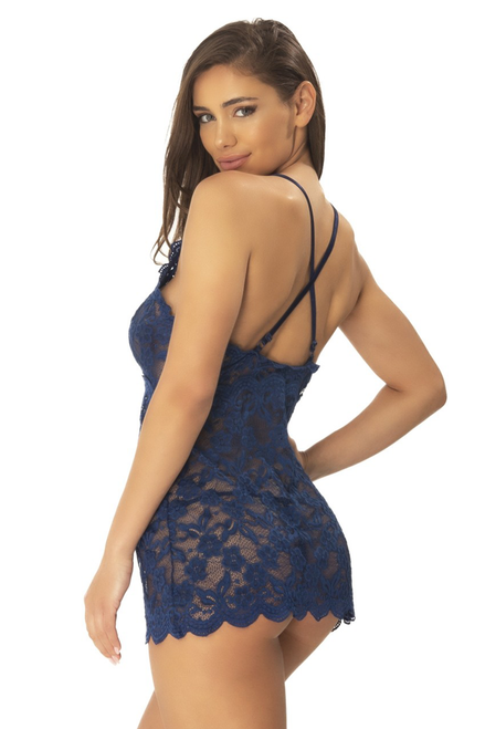 CORTNEY Floral Lace Babydoll + G-String