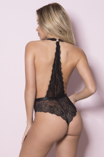 LISETTE Plunging lace halter teddy with tanga back.