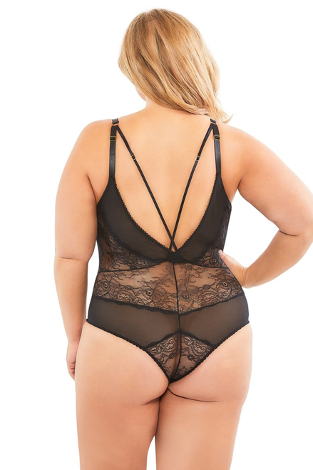 VIVIANE V-Plunge lace teddy with strap detail.