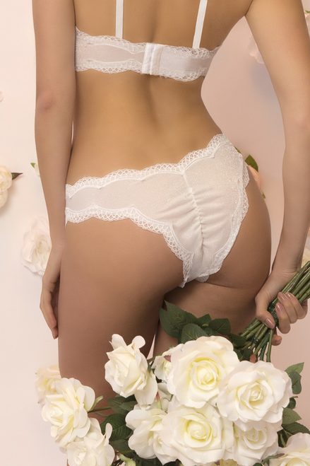 VIOLETTE Guipure Detailed Tanga with Soft Glisenette Sides and Lace Trimmed Edges
