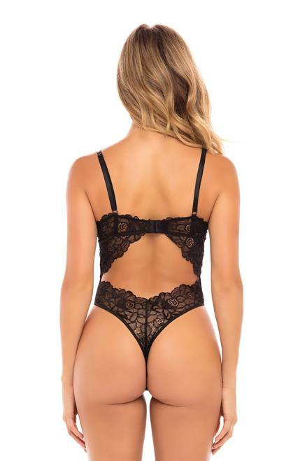 ELLA Floral Embroidered Teddy with Padded Cups and Open Back