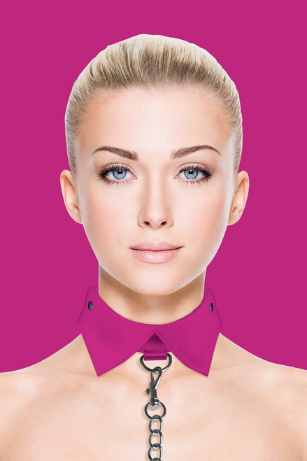 Exclusive Collar With Leash - Pink