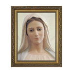 """""""Our Lady Queen of Peace"""" in Antiqued Gold Frame 12 X 16"""