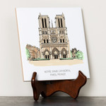 Notre Dame Cathedral Ink & Watercolor Tile