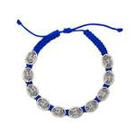 Blue St. Michael Metal Corded Bracelet
