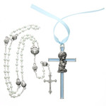 Crib Cross for Boys & Shell Rosary