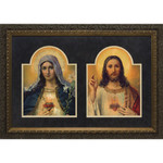 Antique Sacred and Immaculate Hearts (Matted w/ Dark Ornate Frame)