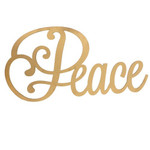 """Gold Holiday Wood Cut Out """"Peace"""""""