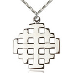 "Sterling Silver Jerusalem Cross Pendant 2 3/8 X 2"""