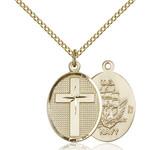 14kt Gold Filled Cross / Navy Pendant