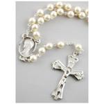 6mm Pearl Rosary w/ Enamel Crucifix