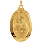 14kt Yellow 25x18mm St. Joseph Oval Medal