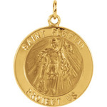 14kt Yellow 22mm Round St. Florian Medal thumbnail 1