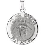 14kt White 18.25mm Round St. Jude Thaddeus Medal thumbnail 1