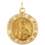 14kt Yellow 15mm Sacred Heart of Jesus Medal