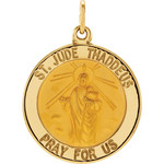 14kt Yellow 18.25mm Round St. Jude Thaddeus Medal