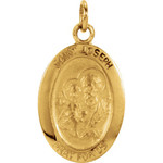 14kt Yellow 15x11mm St. Joseph Oval Medal