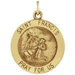14Kt Yellow 15mm Round St. Francis of Assisi Medal thumbnail 1