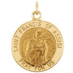 14kt Yellow Gold 15mm Round St. Francis of Assisi Medal