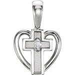 14kt White Gold  .01 CTW Diamond Heart Cross Pendant