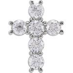 14kt White Gold 1 1/4 CTW Diamond Cross Pendant 1.25 Grams