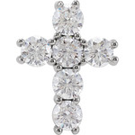 14kt White Gold 1 1/2 CTW Diamond Cross Pendant 1.39 Grams