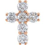 14kt Rose Gold 1 CTW Diamond Cross Pendant 1 Grams