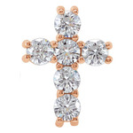 14kt Rose Gold 1/2 CTW Diamond Cross Pendant 0.6 Grams