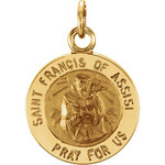 14Kt Yellow Gold 12mm Round St. Francis of Assisi Medal
