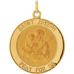 14kt Yellow Gold 22mm Round St. Joseph Medal