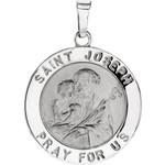 14kt White Gold 18mm Round St. Joseph Medal